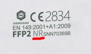 CE 2834 EN 149:2001+A1:2009 FFP2 NR - Certificate No. CE-PC-200324-094-01-9B